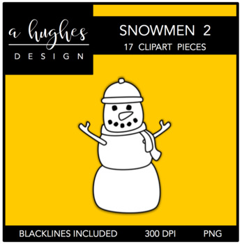 Snowmen 2 Clipart {A Hughes Design}