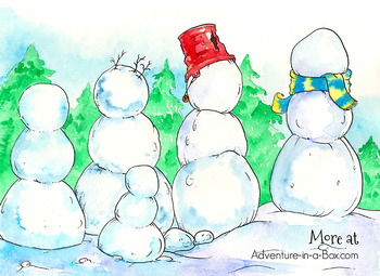 Snowmen Art Prompt: Finish the Drawing with Play-Dough, Markers or Crayons!