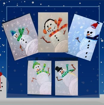 Snowmen At Night Colour Value and Drawing Lesson and Powerpoint