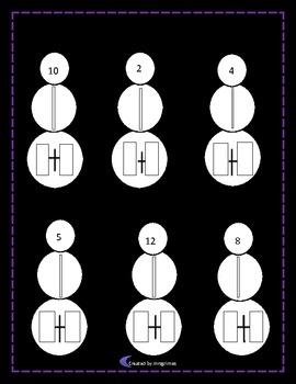 Snowmen At Night Math printable