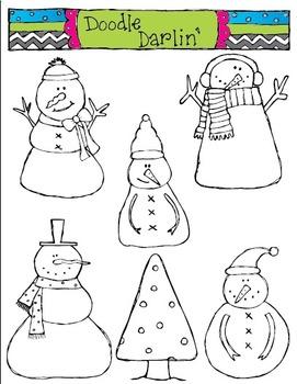 Snowmen BLACK & WHITE Clipart Set