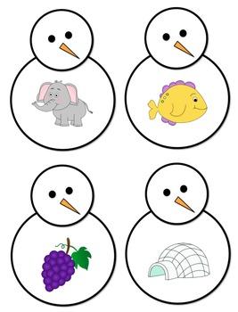 Snowmen Beginning/Initial Sounds Center Activity