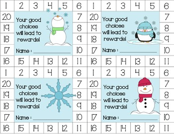 Snowmen/Winter Behavior Punch Cards