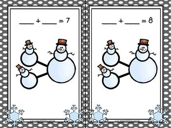 Snowmen Bonding:  LOW PREP Snowman Themed Number Bond Mats