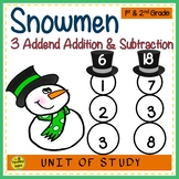 Snowmen  Build 3 Addend Addition & Subtraction Number Sentences