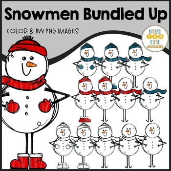 Snowman Clipart Bundled Up