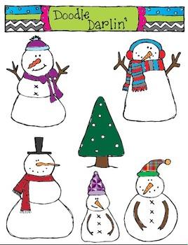 Snowmen COLOR Clipart Set