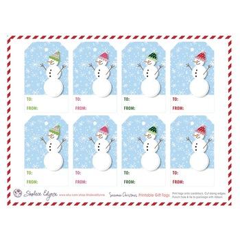 Snowmen Christmas Printable Gift Tags