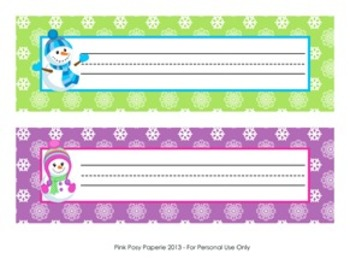 Snowmen Classroom Decor Desk Name Plates