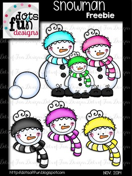 Snowmen Clip Art Freebie ~Dots of Fun Designs~