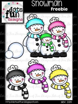 Snowmen Clip Art Freebie ~Dots of Fun Designs~