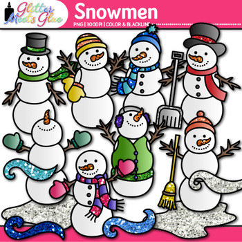 Snowmen Clip Art {Frosty the Snowman, Snow, & Wind Graphics for Winter Resource}