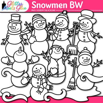 Snowmen Clip Art | Frosty the Snowman, Snow, & Wind Winter Resource | B&W