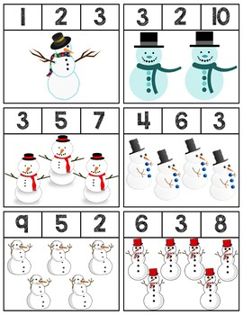 Snowmen Clip Cards   Numbers 1-10