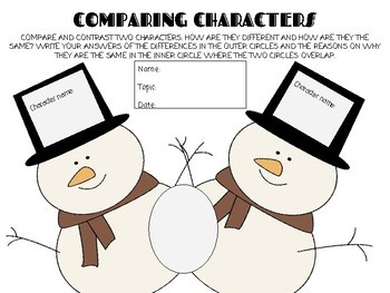 Snowmen: Compare and Contrast Worksheet (Winter Themed) LAFS.3.RL.3.9