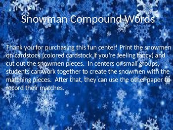 Snowmen Compound Word Center