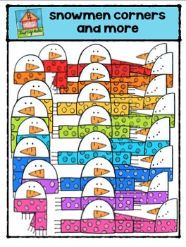 Snowmen Corners and More {P4 Clips Trioriginals Digital Clip Art}