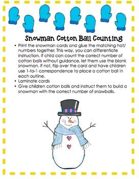 Snowmen Cotton Ball Counting