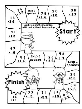 Snowmen: Double Digit Addition and Subtraction with Regrouping and Estimation