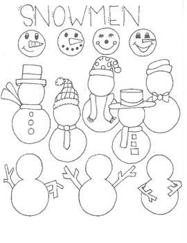 Snowmen Drawing Reference Sheet