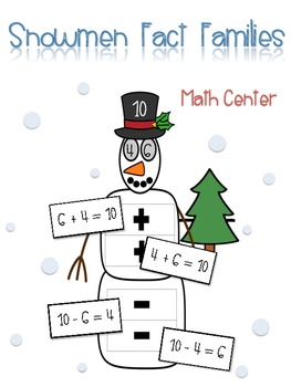 Snowmen Fact Families - Math Center