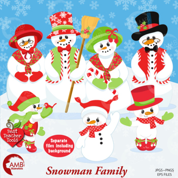 Snowmen Family Cliparts, Frosty the Snowman Clipart, AMB-566