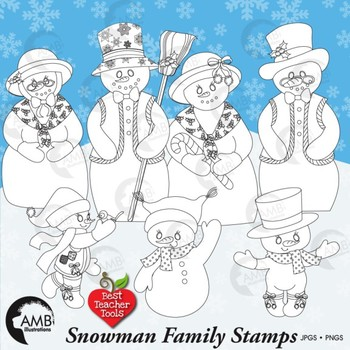 Snowmen Family Digital Stamp Clipart, Frosty the Snowman and Family, AMB-444