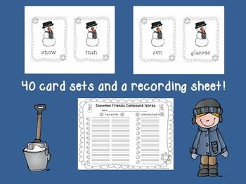 Snowmen Friends Compound Words Center~Cards and Recording Sheet