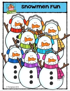 Snowmen Fun {P4 Clips Trioriginals Digital Clip Art}