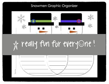 Snowmen Graphic Organizer Compare/Contrast and Text-to-Text Connections