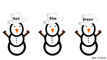 Snowmen Hat Sort Color Words
