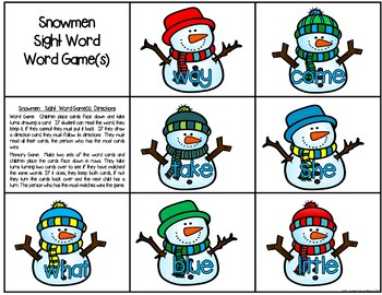 Snowmen Literacy Centers