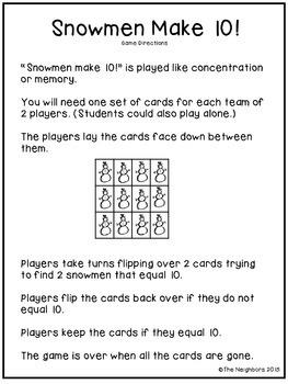 Snowmen Make 10! (A game of ways to make ten.)