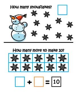 Snowmen Making 10 ~ Common Core ~ Math Center ~ Ten Frame ~ Addition