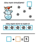 Snowmen Making 5 ~ Common Core ~ Math Center ~ 5 Frame ~ Addition
