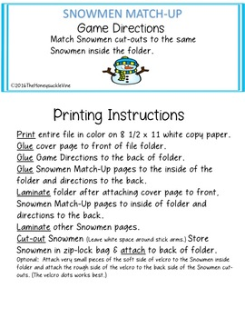 Snowmen Match-Up File Folder Game