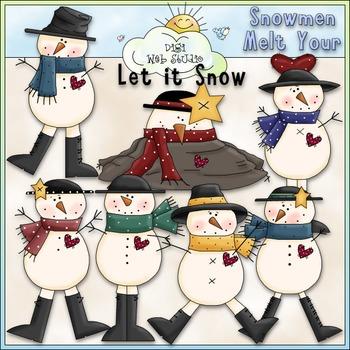 Snowmen Melt Your Heart Clip Art - Snowman Clip Art - CU Clip Art & B&W