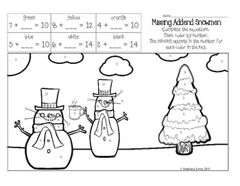 Snowmen Missing Addend Color by Number FREEBIE   CCSS aligned