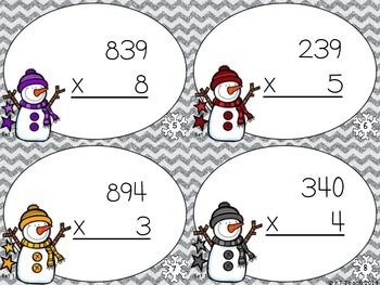Snowmen Multiplication: 3 Digits by 1 Digit Task Cards