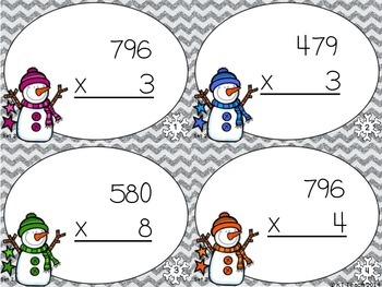 Snowmen Multiplication: 3 Digits by 1 Digit Task Cards