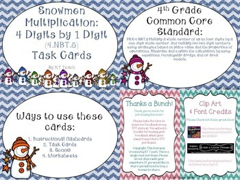 Snowmen Multiplication: 4 Digits by 1 Digit Task Cards