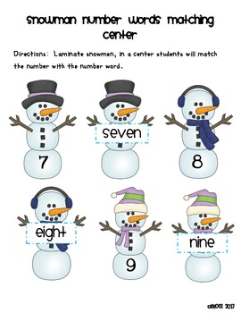 Snowmen Number Words Matching Center or Game
