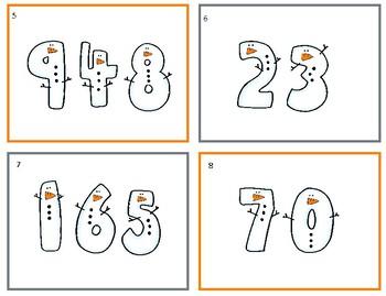 Snowmen Pace Value Task Cards