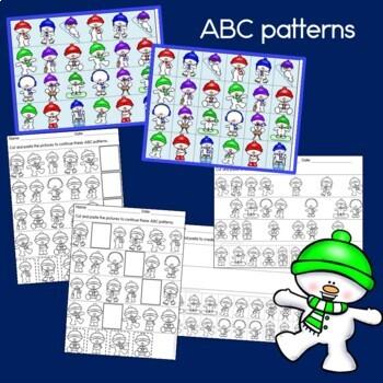 Snowmen Patterns, math center with AB, ABC, AAB & ABB patterns