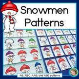 Snowman Patterns, math center with AB, ABC, AAB & ABB patterns