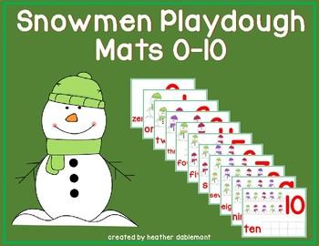 Snowmen Playdough Mats 0-10