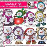 Snowmen Playing Clip Art