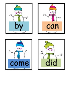 Snowmen Pocket Chart Fun with Sight Words/High Frequency Words