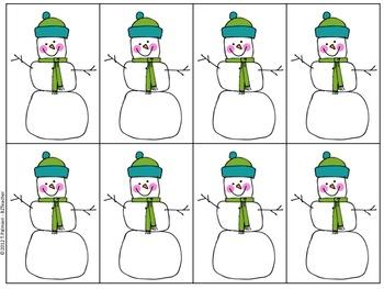Snowmen Pocket Chart Math - HUGE set