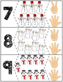 """Snowmen Quantity Puzzles #1-10   """"Show me fingers"""" Version"""